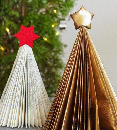 Weihnachtsbäumchen DIY aus Secondhand-Taschenbuch
